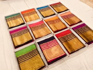 Tussar Silk Light Weight Soft Silk Sarees With Contrast Pallu And Blouse