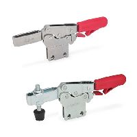 Horizontal acting toggle clamps