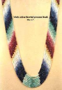 Multi Coloured Precious Faceted Beads