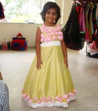 Girls Yellow & Pink Roses Frock