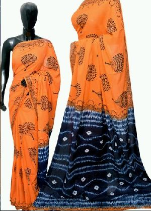 Orange And Blue Bandhani Block Print Cotton Sarees