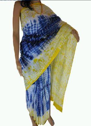 Blue And Yellow Bandhani Cotton Sarees