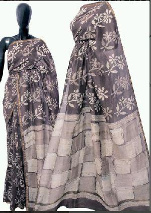 Chanderi Dabu Hand Block Print Grey Sarees