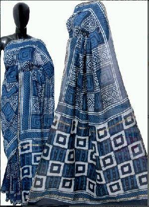 Chanderi Dabu Hand Block Print Blue Sarees