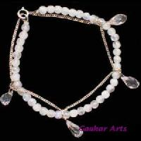 Faceted Crystal Stone Silver Bracelet