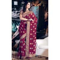 Maroon Faux Georgette Saree with Zari Thread Work