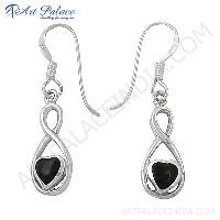 Fashionable Inlay Silver Hook Earrings