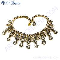 Victorian Gold Plated Diamond Silver Necklace