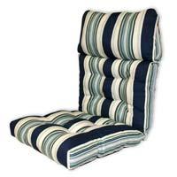 Bold Blue Striped Tufted Chair Cushion