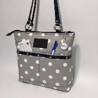 Gray Polka Dot Patent Leather Box Bag