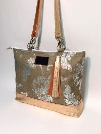 Rose Gold Silver Burlap Large Tote Bag