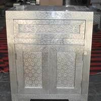 White Metal Embossed Bedside Cabinet (NB-WMBI5)