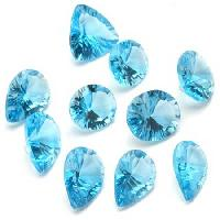 Blue Topaz Concave Cut Precious Stone