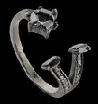 Five Stone Bypass Black Diamond Ring
