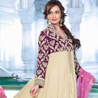 Cream Orchid Colour Designer Party Wear Salwar Kameez