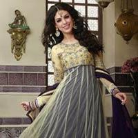 Cream Purple Colour Ethnic Designer Party Wear Long Anarkali Salwar Kameez