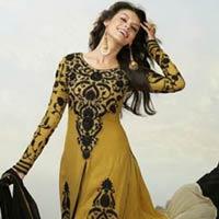 Gold Black Colour Ethnic Designer Party Wear Anarkali Salwar Kameez