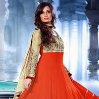 Orange Gold Foil Colour Designer Salwar Kameez