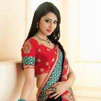 Traditional Look Attractive Embroidered Designer Party Wear Saree