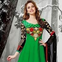White Designer Anarkali Suit, Red Designer Anarkali Suit