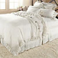 Ava Full/queen Duvet Cover With Frayed Ruffle In White