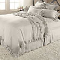 Ava King Duvet Cover With Frayed Ruffle In Fawn