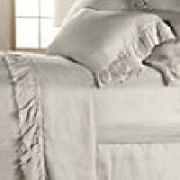 Ava King Flat Sheet With Frayed Ruffle In Fawn