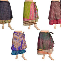 Summer Vintage Mini Silk Wrap Around Skirt
