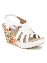 Ladies White Floral Print Platform Sandals