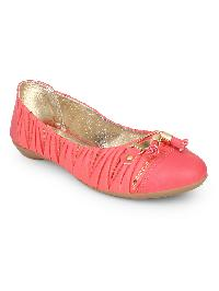 Ladies Peach & Red Belly Shoes