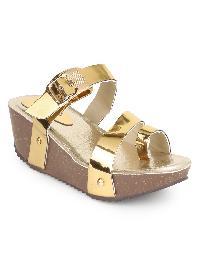 Ladies Leather Cream Platform Sandals
