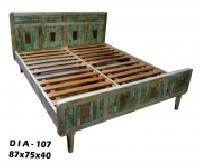 Wooden Green Color Double Bed