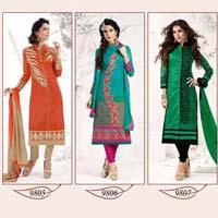 Burberry- New Fashion Silk Burrberry Semistitched Salwar Suit
