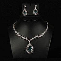 Firozi American Diamond Necklace Set