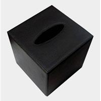 Black Leatherette Tissue Box Cover