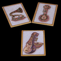 Musical Instrument Painted Marble Plate