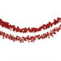 Twisted Red, White Wool Garland