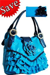 Ruffled Flower Fashion Handbag