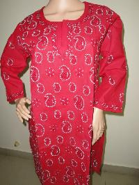 Red Colour Chikan Kari Kurti