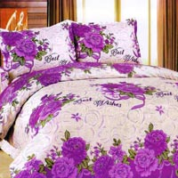 Home Candy 100% Cotton Superb Perple Floral Double Bed Sheet
