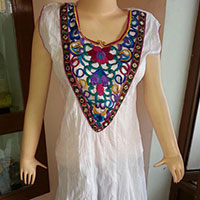 Designer White Cut Work Embroided Cotton Kurti