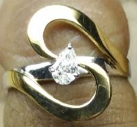 Pear Diamond Gold Solitaire Ring