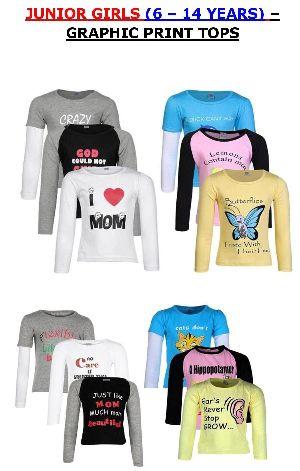 Girls Graphic Printed Round Neck Full Sleeve Henley T Shirt