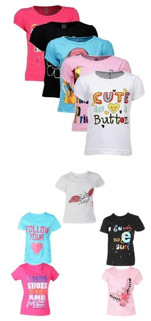 Girls Graphic Printed Round Neck Hal Sleeve Top T-shirt