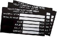 Vehicle Identification Number Plates