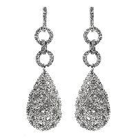 Art Deco Style Lattice Work Faux Diamond Drop Earrings