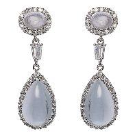 Faux Moonstone Diamond Earrings