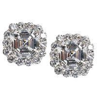 Glamorous Pair Faux Asscher Cut Diamond Earrings