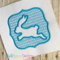 Embossed Jumping Bunny Embroidery Design