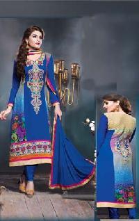 Georgette Blue Embroidered Salwar Suit